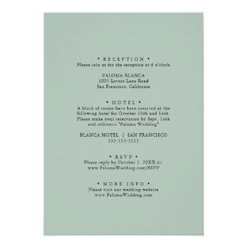 Small Geometric Gold Tropical Green Front & Back Wedding Invitation Back View