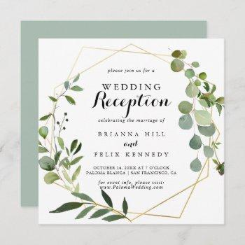 geometric gold tropical green wedding reception invitation