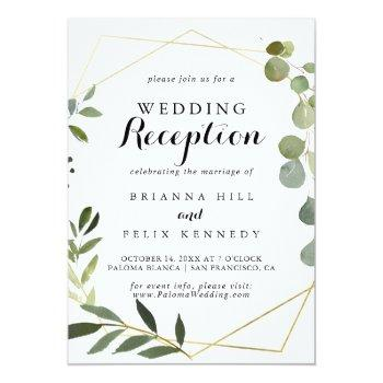 Small Geometric Gold Tropical Green Wedding Reception Invitation Front View