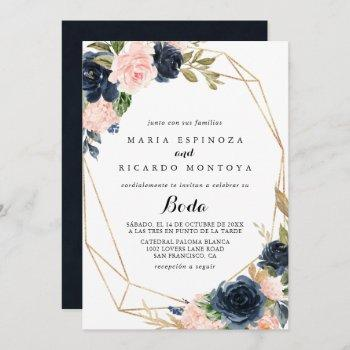geometric gold winter floral spanish wedding invitation