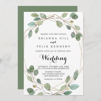 geometric greenery eucalyptus front & back wedding invitation