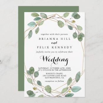 geometric greenery eucalyptus front & back wedding invitation