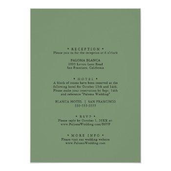 Small Geometric Greenery Eucalyptus Front & Back Wedding Invitation Back View