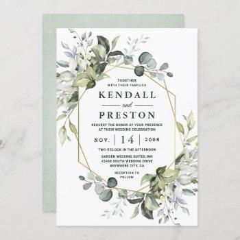 geometric greenery modern gold succulent wedding invitation