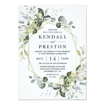 Small Geometric Greenery Modern Gold Succulent Wedding Invitation Front View