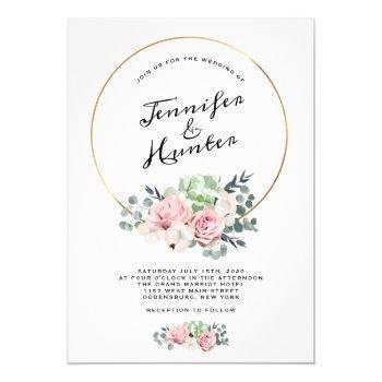 geometric hoop floral wedding invitation