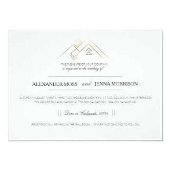 geometric mountain | modern gold invitation