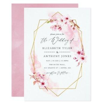 geometric pink spring cherry blossom wedding invitation