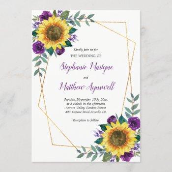 geometric sunflower purple roses floral wedding invitation
