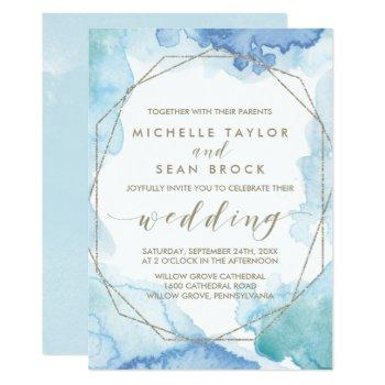 geometric watercolor all in one wedding invitation