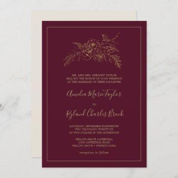 gilded floral | burgundy and gold formal wedding invitation