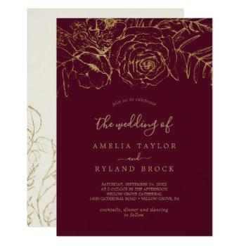 gilded floral | burgundy and gold the wedding of invitation