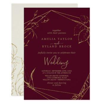gilded floral | burgundy and gold wedding invitation