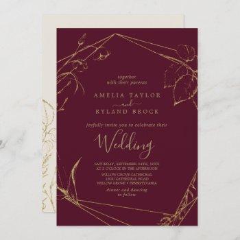 gilded floral | burgundy and gold wedding invitation