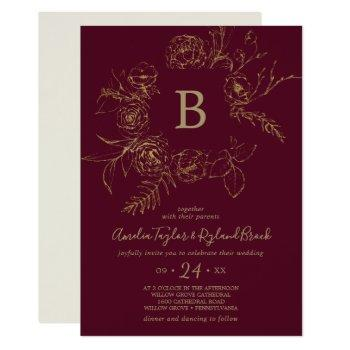 gilded floral | burgundy & gold monogram wedding invitation