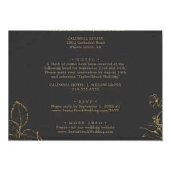 Small Gilded Floral | Cream And Gold All In One Wedding Invitation Back View