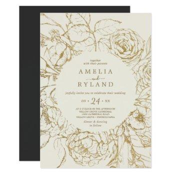 gilded floral   cream and gold casual wedding invitation
