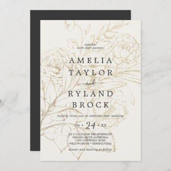 gilded floral   cream and gold faded wedding invitation