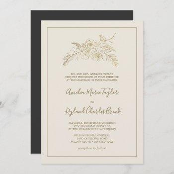 gilded floral | cream and gold formal wedding invitation