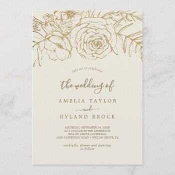 gilded floral   cream and gold the wedding of invitation
