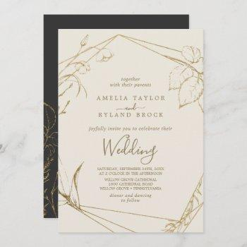 gilded floral   cream and gold wedding invitation