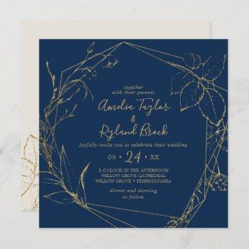 gilded floral   navy and gold all in one wedding invitation
