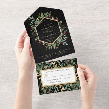 gilded greenery on black | christmas wedding all in one invitation
