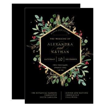 gilded greenery on black | christmas wedding invitation
