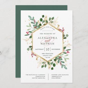 gilded greenery on white | christmas wedding invitation