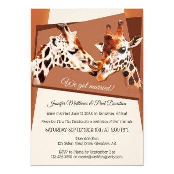 giraffes safari zoo after wedding invitation