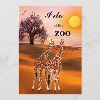 giraffes safari zoo wedding invitation