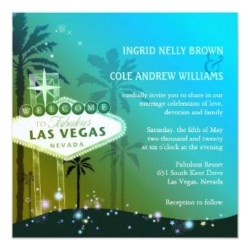 glam blue las vegas wedding invitation