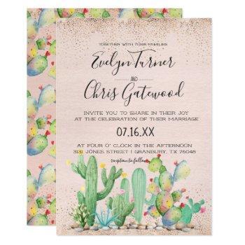 glam cactus fiesta wedding invitation