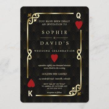 glam gatsby casino las vegas poker wedding invitation