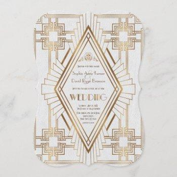 glam gold and white great gatsby wedding invitation