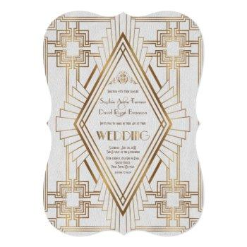 glam gold and white great gatsby wedding invitation