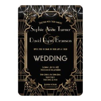 glam gold great gatsby black art deco 20s wedding invitation