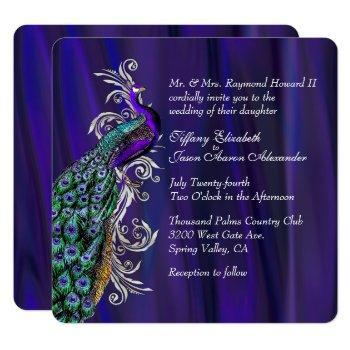 glam purple satin and peacock wedding invitation