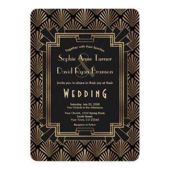 glam roaring 20's gold black great gatsby wedding invitation