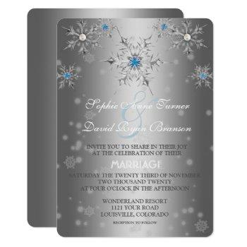 glam silver snowflakes crystal blue pearl wedding invitation