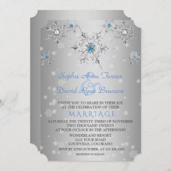 glam silver snowflakes crystal blue pearls wedding invitation