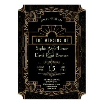 glam wedding | gold art deco gatsby 1920s style invitation