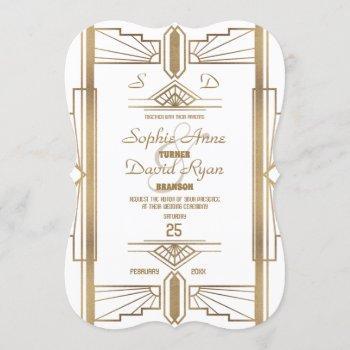 glam white roaring 20's great gatsby wedding invitation