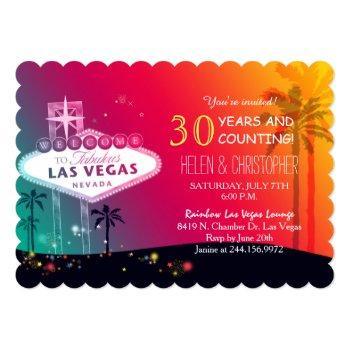 glamorous las vegas wedding anniversary party invitation
