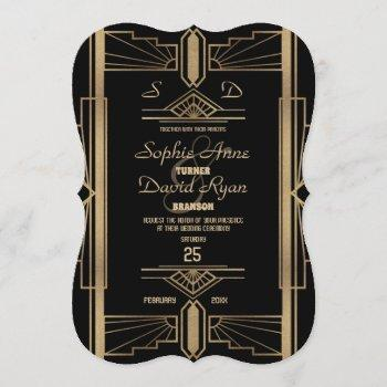 glamorous roaring 20's great gatsby wedding invite