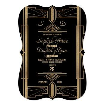 glamorous roaring 20's great gatsby wedding invite