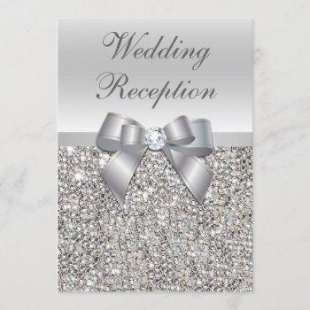 glamorous silver sequins bow wedding reception invitation