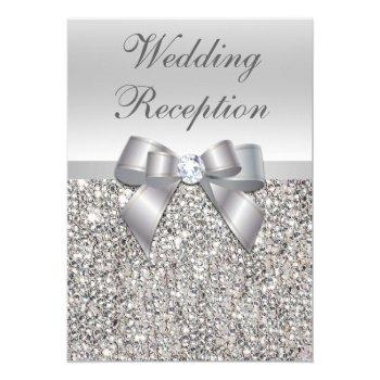 glamorous silver sequins bow wedding reception invitation