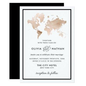 glamorous world map | elegant travel theme wedding invitation