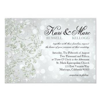 glamour glitter luxe bokeh wedding | silver ice invitation